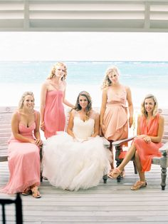 Pretty colors for bridesmaids - http://www.StyleMePretty.com/2014/03/21/intimate-bahamas-destination-wedding/ Photography: JeremiahAndRachel.com on #SMP