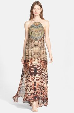 Camilla 'Time Among the Gods' Crystal Embellished Print Silk Maxi Dress | Nordstrom