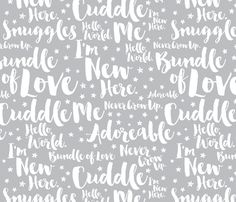 Baby Script Type Star White on Grey Large fabric by seasonofvictory on Spoonflower - custom fabric