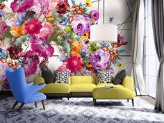spring living room ideas with floral mural wallpaper