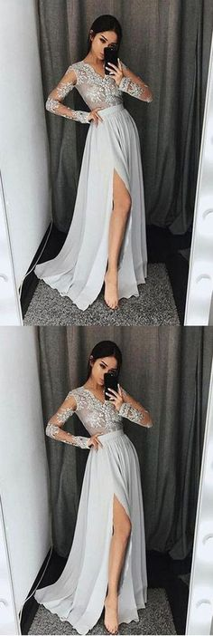 Long Sleeves V Neck Side Split Sexy Silver Long Prom Dresses G048