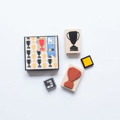 DIY Idea: Sleep like a champion with trophy pillows! Use the Trophy Pattern Stamp Set to stamp a pattern onto cotton pillow cases, iron to heat set, and put pillows into cases. Stamp set includes one natural rubber stamp mounted on a maple block and two mini ink pads.