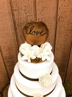 Rustic wooden wedding cake topper country weddings; have last name instead of love