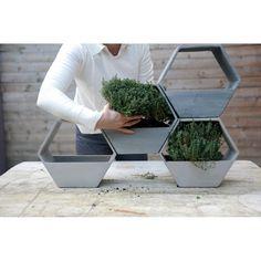 D&M Hive Plantenbak Zeshoek - Grijs