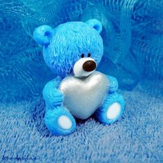 Blue bear with a silver heart 3D soap