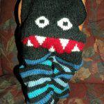 """Created by knitting designer Hrönn Jónsdóttir. Free pattern via Ravelry Hat tip: If you like monster pants, try these popular """"Monster Bum Pants"""" too. Knitting Designs, Knitting Patterns Free, Knit Patterns, Free Knitting, Knitting Projects, Baby Knitting, Free Pattern, Crochet Toddler, Crochet Baby"""