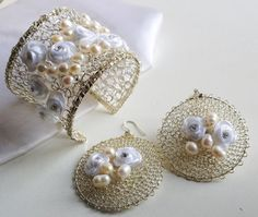Beautiful #crochet wire jewelry from WireHandmadeJewelry on Etsy