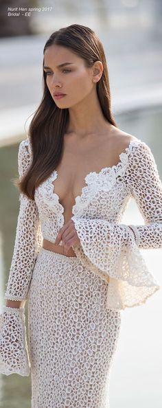 Nurit Hen spring 2017 white lace dress @roressclothes closet ideas women fashion outfit clothing style