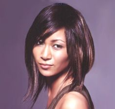 Mediun layered hair style with long side-part bangs, brunette