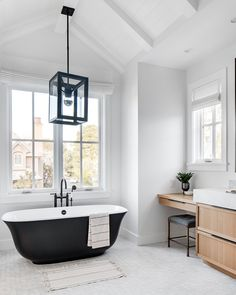 [New] The 10 Best Home Decor (with Pictures) - I N T E R I O R S // This tub under that high ceiling has me a bit jealous. If you ask me everyone deserves a tub like this. And maybe also that tile and that window and that sink. Black Bathtub, Black Tub, Grey Bathrooms, Master Bathroom, Small Bathroom, Bathroom Gray, Light Bathroom, Bathroom Kids, Victoria And Albert Baths