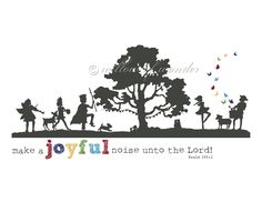 Bold Font - Silhouette Scripture Print - Make A JOYFUL Noise - Children's room wall art - boy or girl playroom or nursery decor. $18.00, via Etsy.
