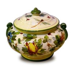 This is hand-crafted Tuscan Italian pottery kitchenware at its best, and features a design of delicate dragonflies and detailed flowers.