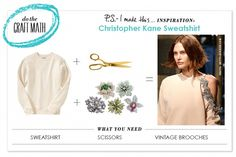 DIY: Spring-ify Your Sweatshirt In 2 Easy Steps http://psimadethis.com/craftmath/christopher-kane-embellished-sweatshirt