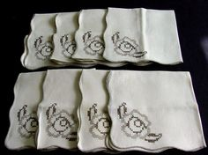 Set of 8 Embroidered Linen Napkins.1930s by chalcroft on Etsy, $24.00