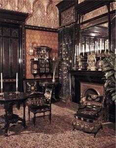 Really dig the use of multiple wallpapers. Worsham-Rockefeller Room Medium: Moorish smoking room from the John D. Rockefeller House Dates: built ca. 1864-1865; remodeled ca. 1881 / https://www.pinterest.com/pin/138837600989158362/