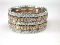 Stacking Band with Rose and White Gold