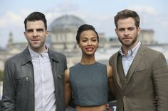 Zachary Quinto, Zoe Saldana and Chris Pine attend the Star Trek Into Darkness Photocall at China Club on April 28, 2013 in Berlin, Germany.