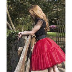 49b0950b07 falda carrie con rizo color rojo confeccionad a mano