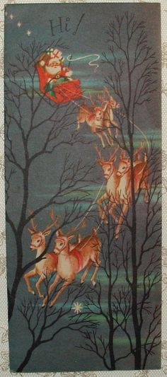 Santa in Sleigh Over Treetops - 1950's Vintage Christmas Greeting Card