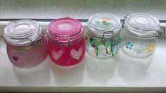 re using my 'reused' jars! Cute at night with a candle.