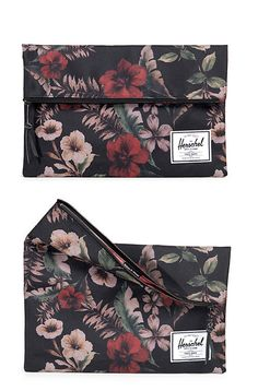 The Carter fold-over large floral bag with magnetic secure flaps is perfect for really anything! Important documents maybe, or for a quick overnight bag, or maybe even your everyday clutch   Herschel Supply Co.