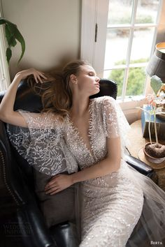berta bridal fall 2016 illusion flutter sleeves deep vneck embellished kaftan wedding dress (16 110) zv
