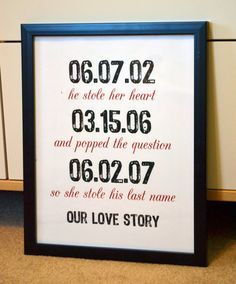 Wedding sign 11x14 print- our love story- he stole her heart- stole his last name- important dates- subway art- anniversary gift. $14.00, via Etsy.