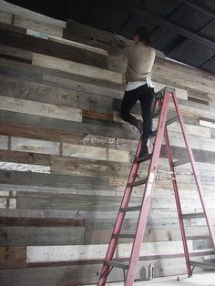 Salvaged wood wall. Would be a cool idea for the wall in the patio.