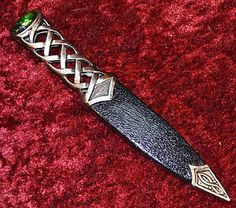 Scottish Irish Silver Celtic Knot Gaelic Sgain Dubh Dagger Knife ...