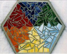 rainbow mosaic hexagonal stepping stone