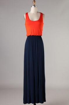 Navy & Orange Gameday Maxi Dress.. Perfect for Auburn games!