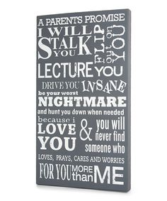 Gray 'Parent's Promise' Wall Art | Daily deals for moms, babies and kids