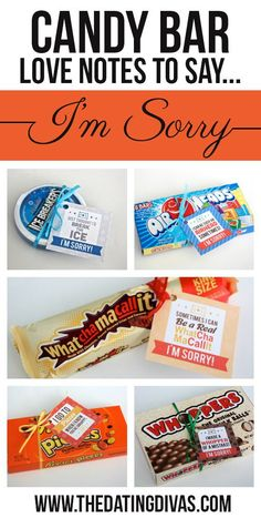 Candy Bar Love Notes to Say I'm Sorry                                                                                                                                                                                 More