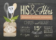 His and Hers Shower Invitation; Bridal Shower His & Hers Couple's Wedding Shower Invitation by papernpeonies Couples Shower Themes, Couples Wedding Shower Invitations, Couples Baby Showers, Wedding Couples, Wedding Ideas, Wedding Stuff, Anniversary Invitations, Wedding 2015, Wedding Things