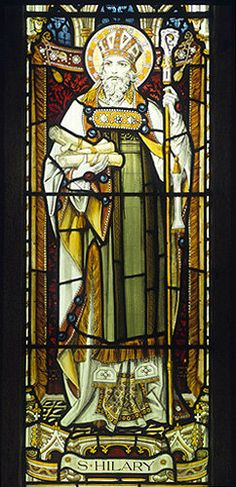St Hilary, detail from the east window in the Church of St Hilary, Cornwall circa 1895