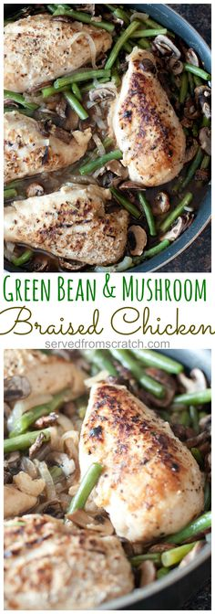 Green Bean and Mushroom Braised Chicken is an easy one pot dinner that's perfect for any time of the week. Get everything you need in one pot!