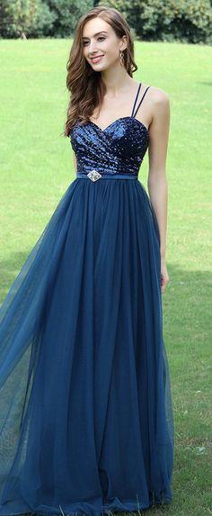 eDressit Blue Spaghetti Straps Sequins Bridesmaid Dress
