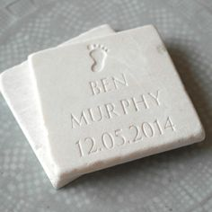A natural stone slate engraved with a baby footprint and wording of your choice - a perfect keepsake for that special little someone! New Baby Presents, Unique Presents, Baby Keepsake, Keepsake Boxes, Baby Footprints, Love Natural, How To Make Ribbon, White Gift Boxes, Personalized Baby