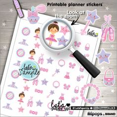 Ballerina Stickers, Printable Planner Stickers, Ballet Stickers, Erin Condren, Kawaii Stickers, Printable Stickers, Planner Accessories, DIY