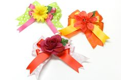 Spring Floral Hair Clips with Bowdabra Bow #hairbow #easterhair #bows