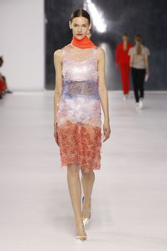 Dior Cruise 2014 – Look 8: Red, blue and pale pink embroidered printed guipure dress with knitted metallic cotton underwear. Discover more on www.dior.com #Dior