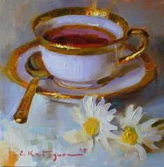 "Daily Paintworks - ""Tea and Daisies"" - Original Fine Art for Sale - © Elena Katsyura"