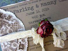 Wedding Invitation Rustic Barn Wedding Country Wedding Kraft invitation Shabby Chic Handcrafted on Etsy, $5.50