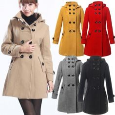 New Womens Warm Winter Overcoat Double Breasted Trench Coat Stand Collar
