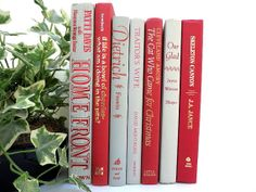Grey+and+Red+Vintage+Books+/+Book+Decor+/+Instant+by+redladybugz,+$38.00 Red Books, Christmas Cats, Vintage Books, Bookends, Handmade Gifts, Grey, Decor, Kid Craft Gifts, Gray