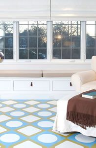 not your mama's vinyl flooring - circles and squares with frames to mix and match colors and shapes.