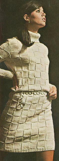 Vintage 1960s MOD Basket Weave Dress Knitting Pattern PDF