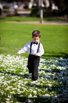 Little ring bearer outfit...loving the suspenders and bow tie look.