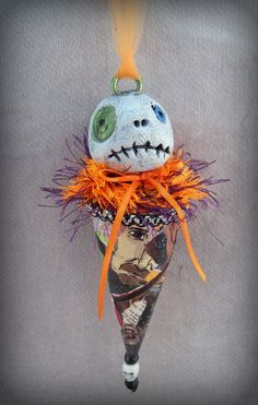 One-of -a-kind Handmade Ornament created by me without using molds. Unique gift or display in your Halloween Decorations or tree.