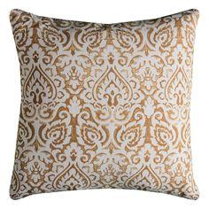 Rizzy Home Damask Burlap Throw Pillow, Gold